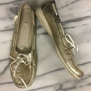 Sperry Top Sider Gold Flats Lace Up Shoes Size 8